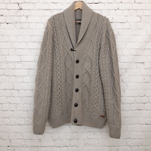 Barbour Cable Knit Wool Cardigan Sweater Tan